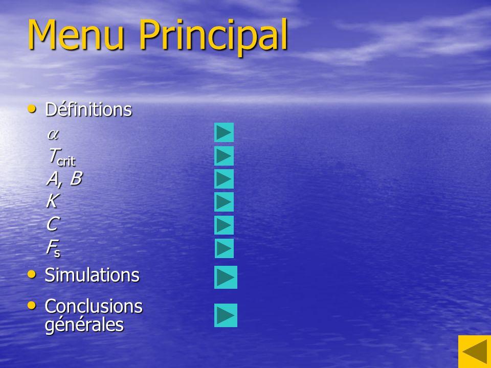 Menu Principal Définitions a Tcrit A, B K C Fs Simulations