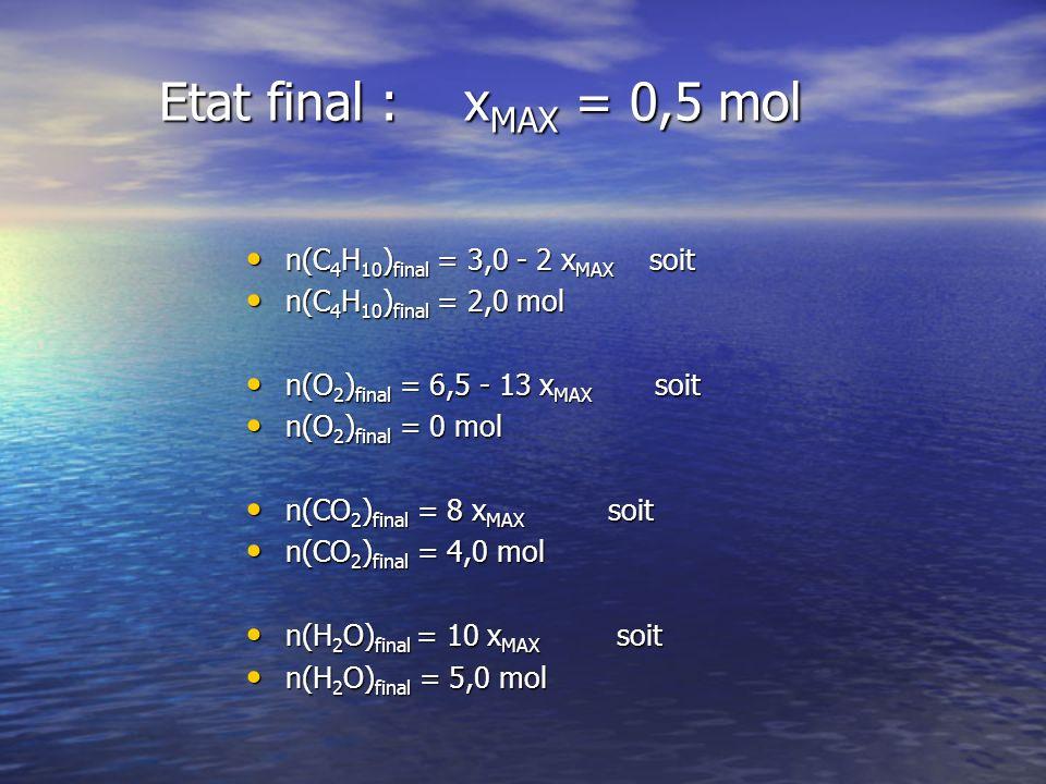 Etat final : xMAX = 0,5 mol n(C4H10)final = 3,0 - 2 xMAX soit