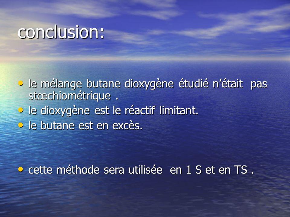 conclusion: le mélange butane dioxygène étudié n'était pas stœchiométrique . le dioxygène est le réactif limitant.