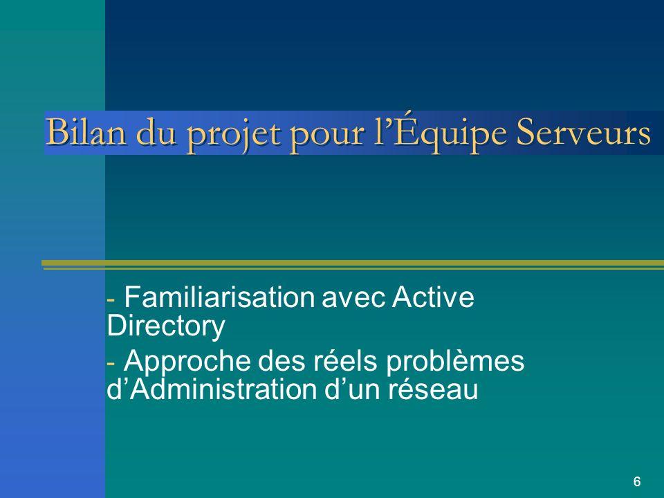 Bilan du projet pour l'Équipe Serveurs