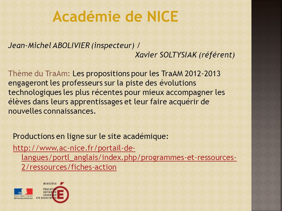 Académie de NICE Jean-Michel ABOLIVIER (inspecteur) /