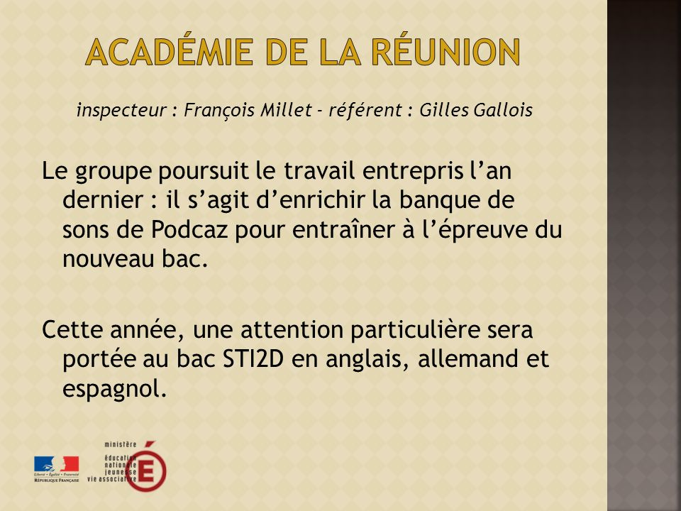 inspecteur : François Millet - référent : Gilles Gallois