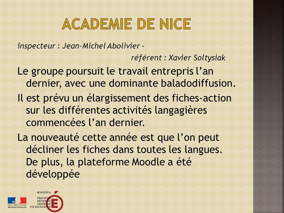 Academie de nice inspecteur : Jean-Michel Abolivier – référent : Xavier Soltysiak.