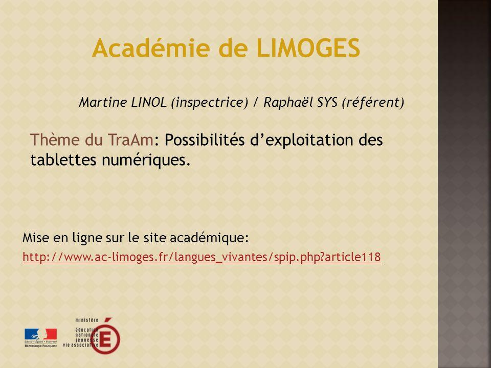 Martine LINOL (inspectrice) / Raphaël SYS (référent)