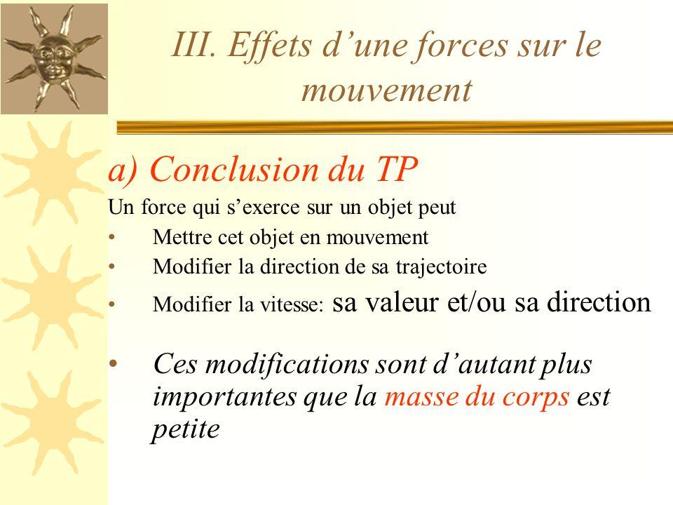 III. Effets d'une forces sur le mouvement