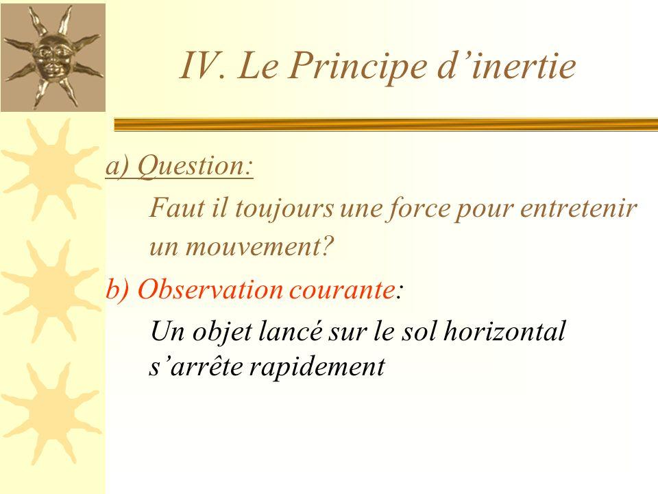 IV. Le Principe d'inertie