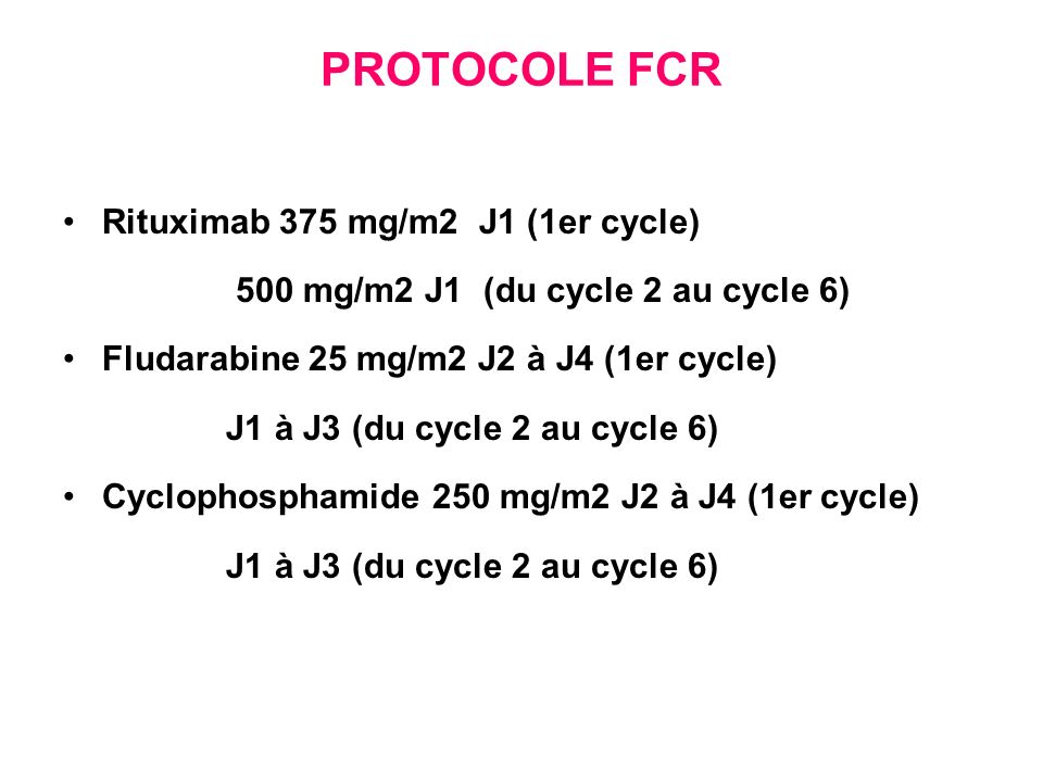 PROTOCOLE FCR Rituximab 375 mg/m2 J1 (1er cycle)