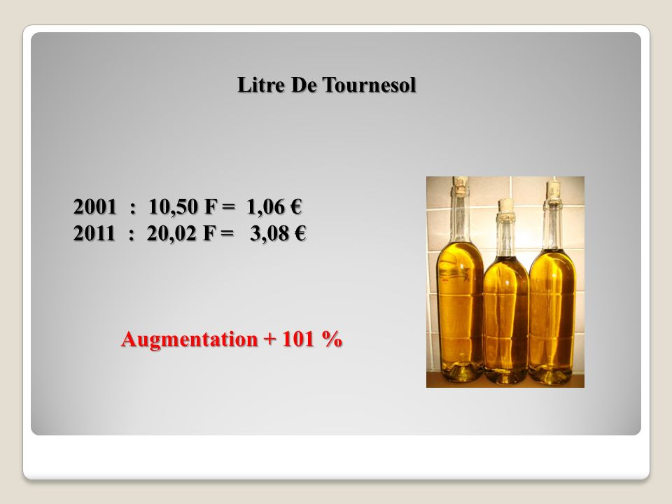 Litre De Tournesol 2001 : 10,50 F = 1,06 € 2011 : 20,02 F = 3,08 € Augmentation + 101 %