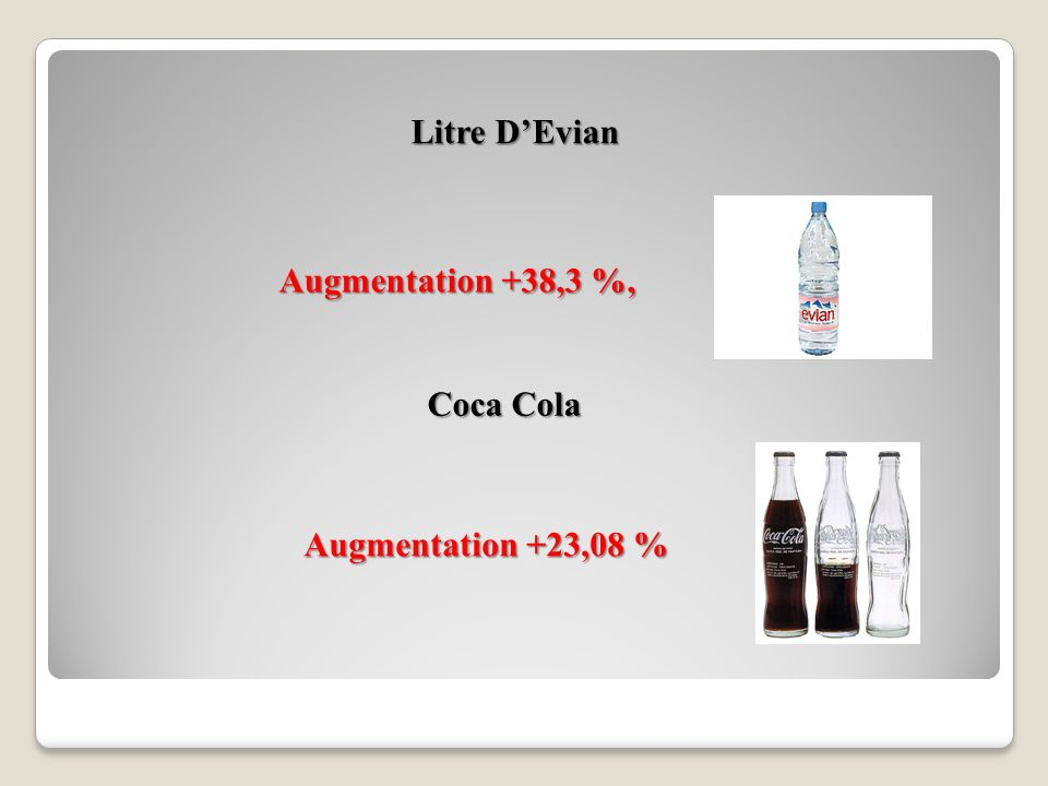 Litre D'Evian Augmentation +38,3 %, Coca Cola Augmentation +23,08 %