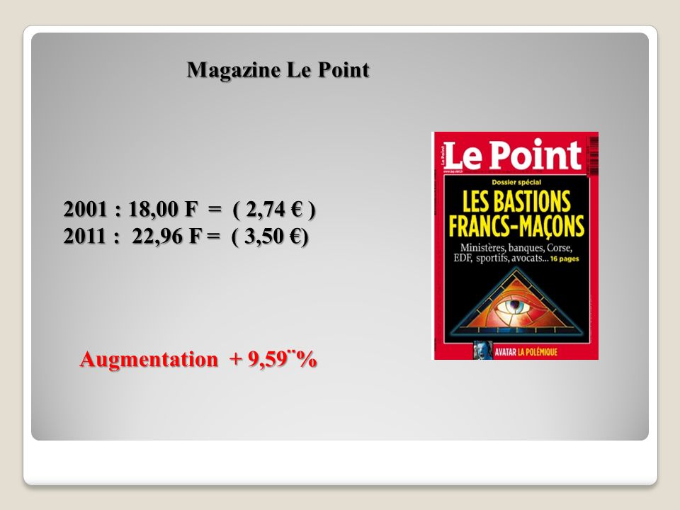 Magazine Le Point 2001 : 18,00 F = ( 2,74 € ) 2011 : 22,96 F = ( 3,50 €) Augmentation + 9,59¨%
