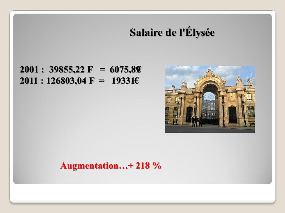 Salaire de l Élysée 2001 : 39855,22 F = 6075,89.