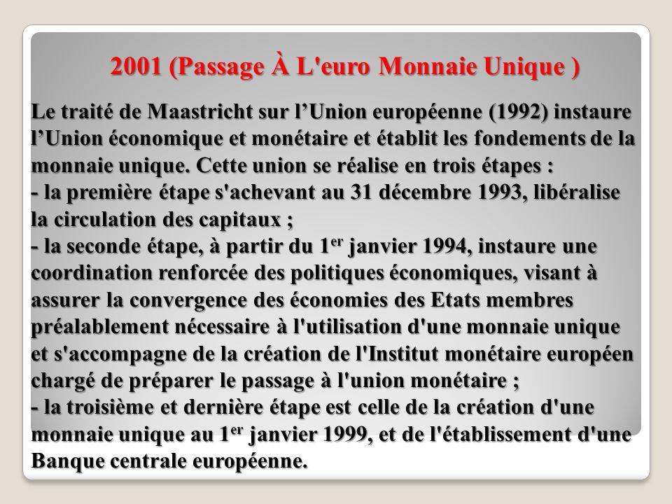 2001 (Passage À L euro Monnaie Unique )
