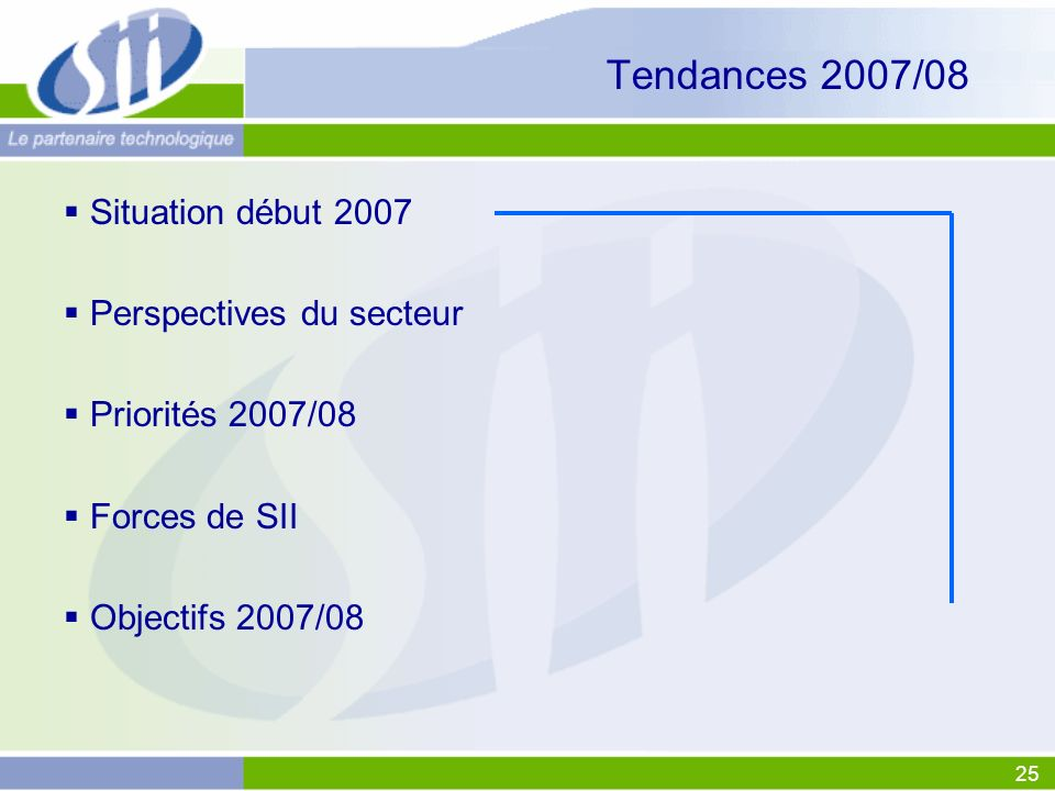 Tendances 2007/08 Situation début 2007 Perspectives du secteur