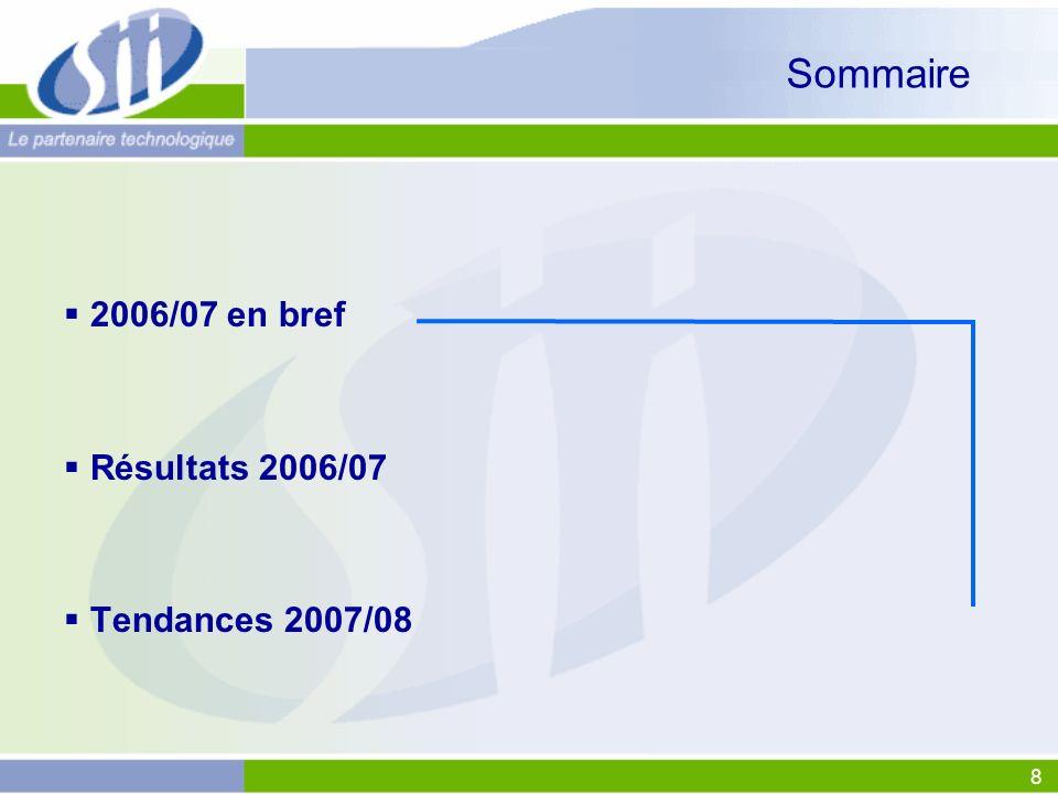 Sommaire 2006/07 en bref Résultats 2006/07 Tendances 2007/08