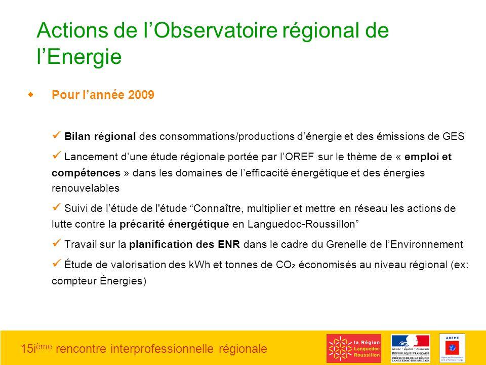 Actions de l'Observatoire régional de l'Energie