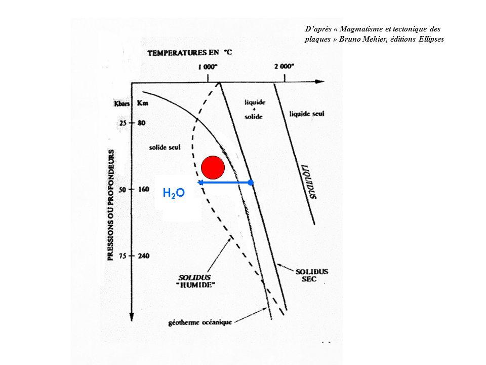 D'après « Magmatisme et tectonique des plaques » Bruno Mehier, éditions Ellipses