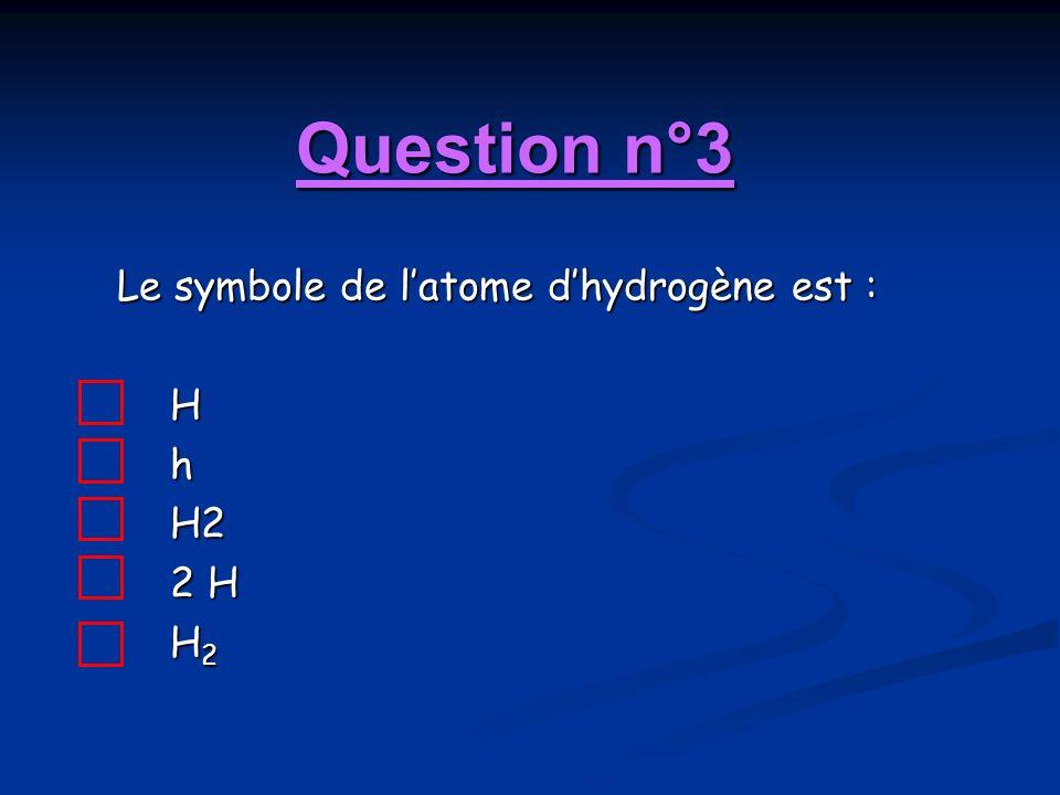 Question n°3 Le symbole de l'atome d'hydrogène est : H h H2 2 H