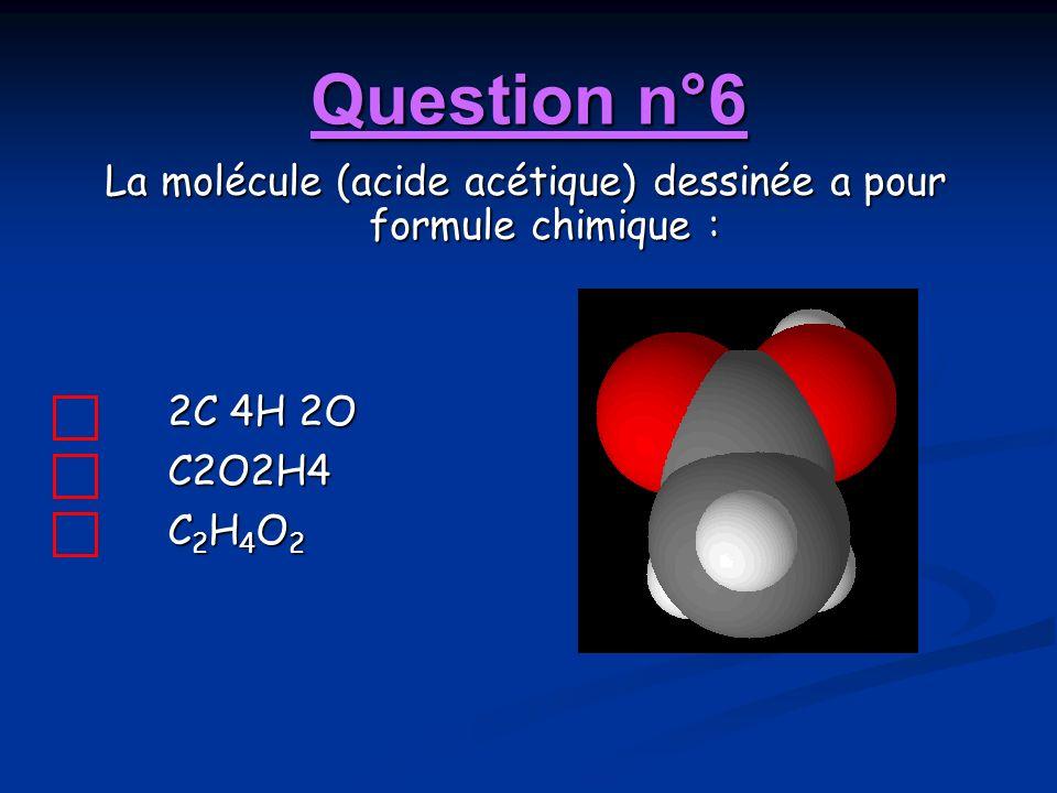 La molécule (acide acétique) dessinée a pour formule chimique :