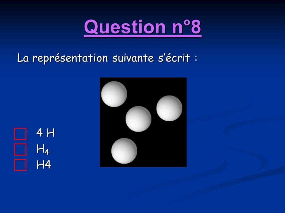 Question n°8 La représentation suivante s'écrit : 4 H H4