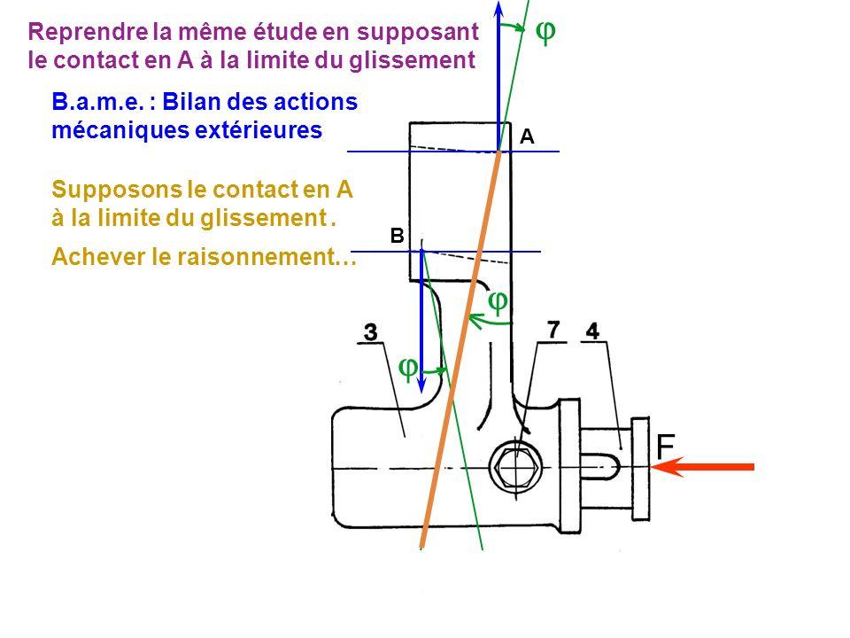  Reprendre la même étude en supposant le contact en A à la limite du glissement. B.a.m.e. : Bilan des actions mécaniques extérieures.