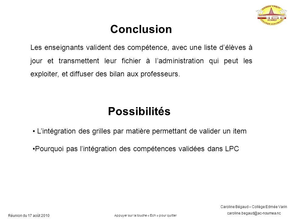 Conclusion Possibilités