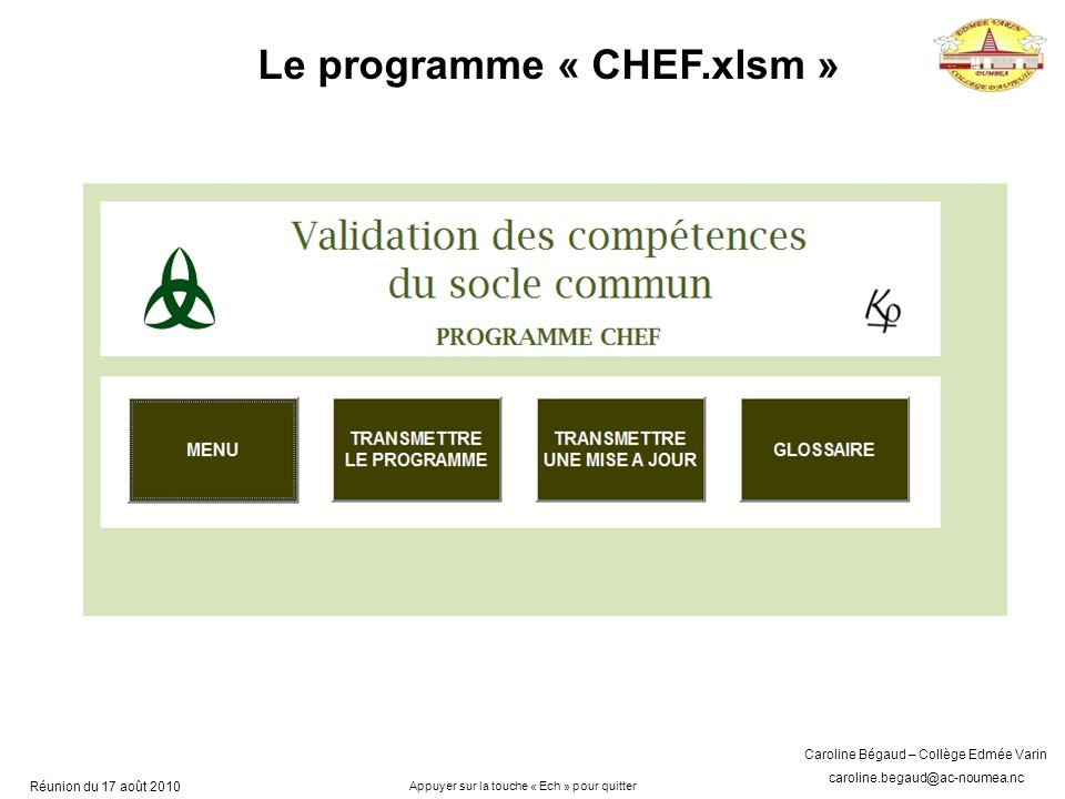 Le programme « CHEF.xlsm »