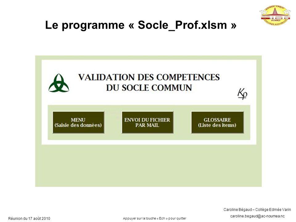 Le programme « Socle_Prof.xlsm »