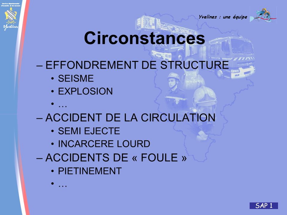 Circonstances EFFONDREMENT DE STRUCTURE ACCIDENT DE LA CIRCULATION