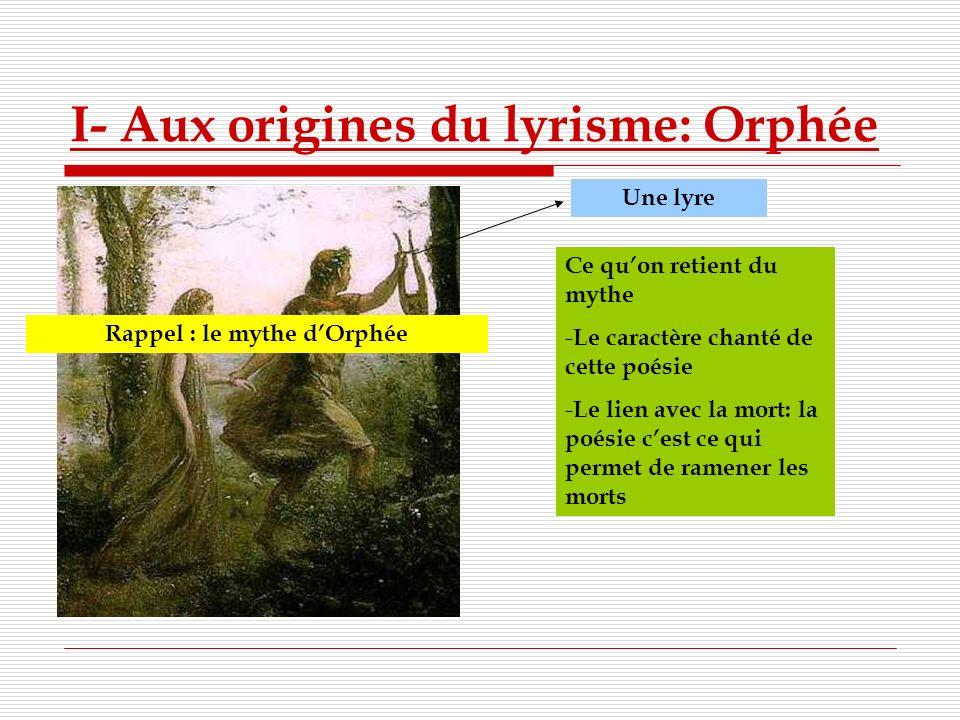 I- Aux origines du lyrisme: Orphée