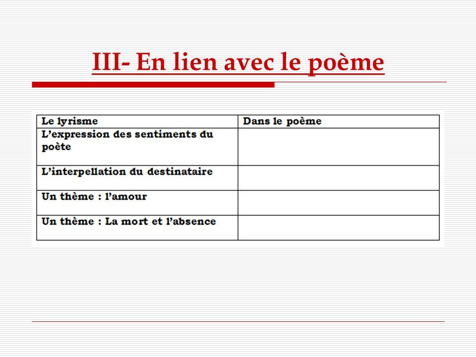 III- En lien avec le poème