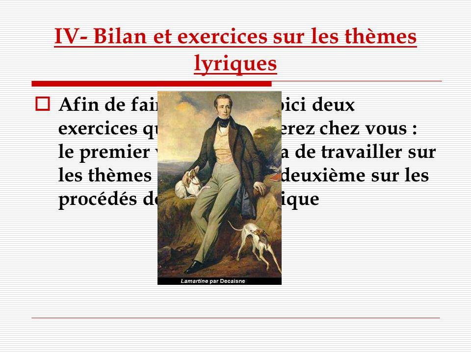 IV- Bilan et exercices sur les thèmes lyriques