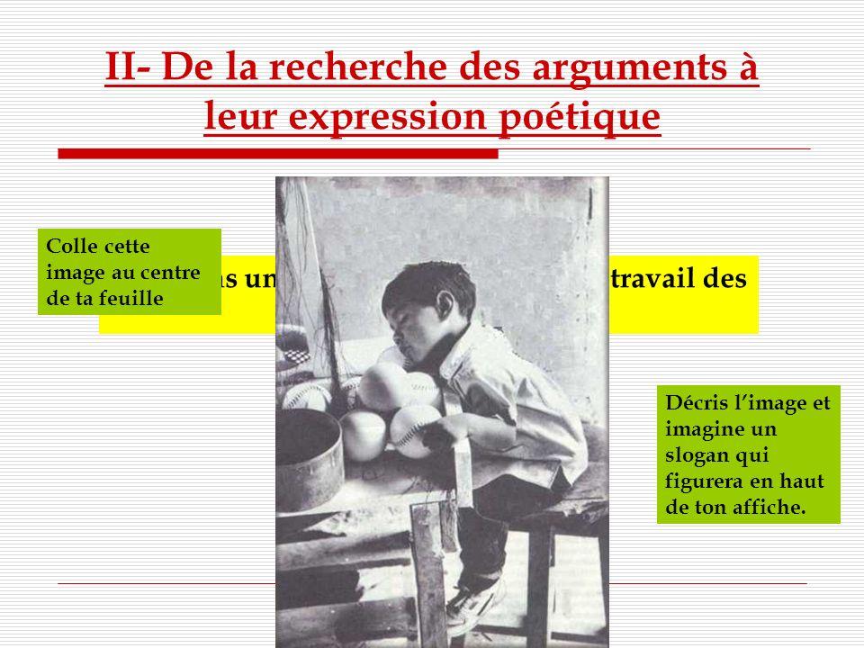 II- De la recherche des arguments à leur expression poétique