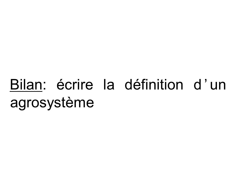 Bilan: écrire la définition d'un agrosystème