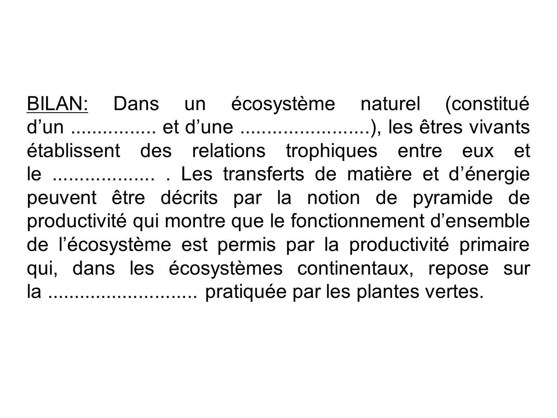 BILAN: Dans un écosystème naturel (constitué d'un. et d'une