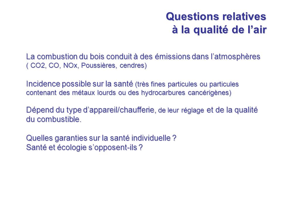 Questions relatives à la qualité de l'air