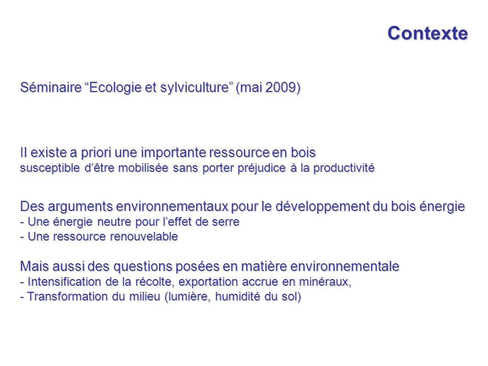 Contexte Séminaire Ecologie et sylviculture (mai 2009)