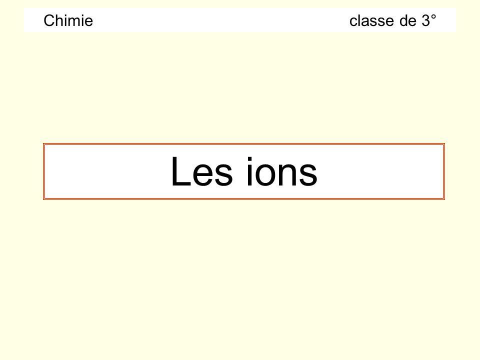 Chimie classe de 3° Les ions