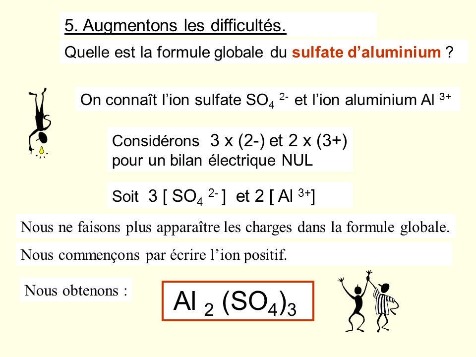 Al 2 (SO4)3 5. Augmentons les difficultés.