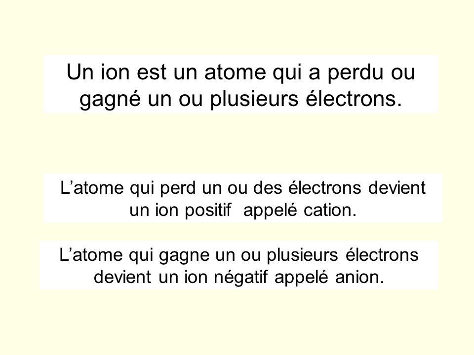 Un ion est un atome qui a perdu ou gagné un ou plusieurs électrons.