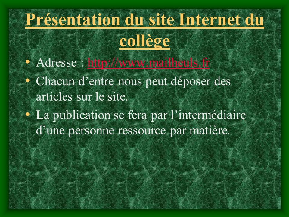 Présentation du site Internet du collège