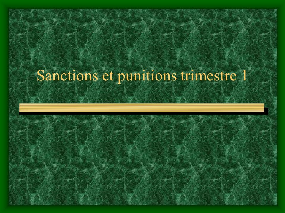 Sanctions et punitions trimestre 1