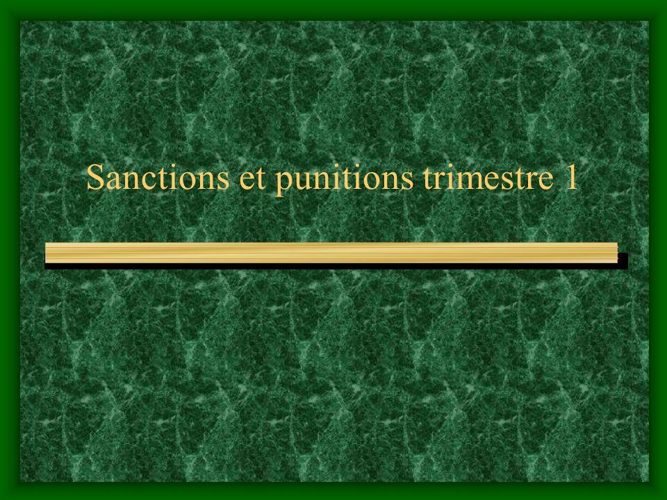 Sanctions et punitions trimestre 1