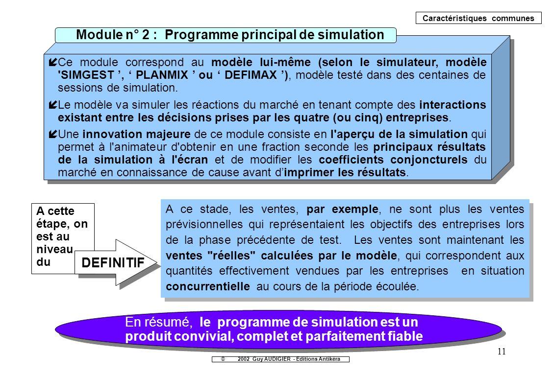 Module n° 2 : Programme principal de simulation DEFINITIF