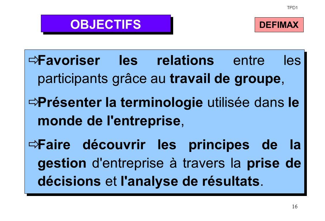 TPD1 OBJECTIFS. DEFIMAX. Favoriser les relations entre les participants grâce au travail de groupe,