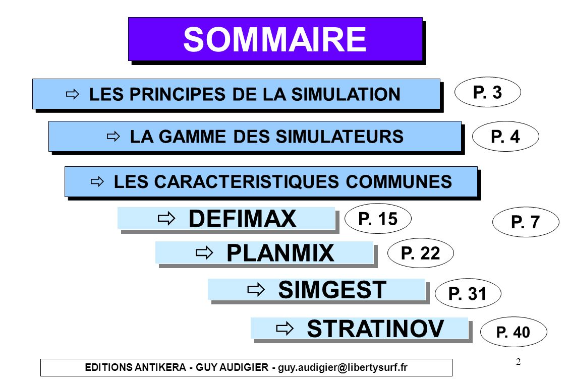 SOMMAIRE DEFIMAX PLANMIX SIMGEST STRATINOV