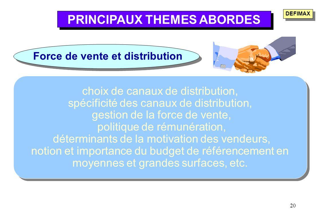 PRINCIPAUX THEMES ABORDES Force de vente et distribution
