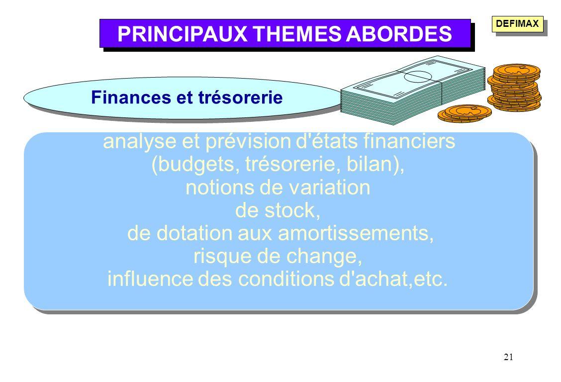 PRINCIPAUX THEMES ABORDES Finances et trésorerie
