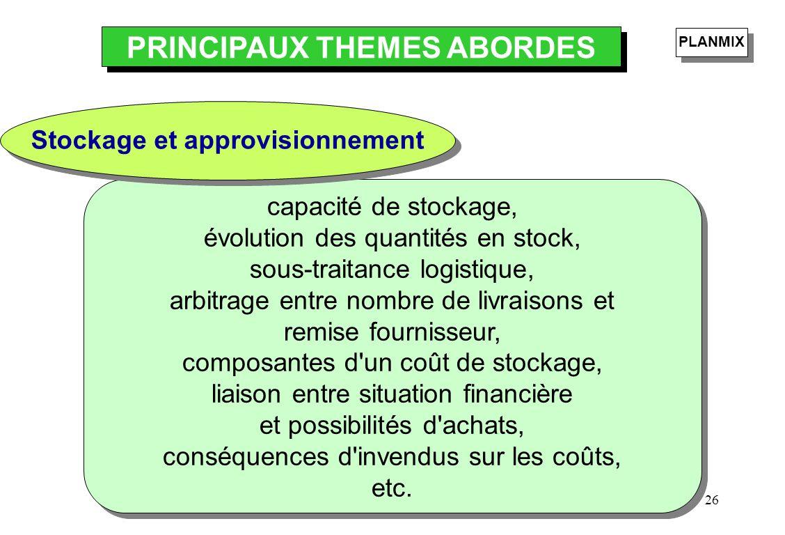 PRINCIPAUX THEMES ABORDES Stockage et approvisionnement