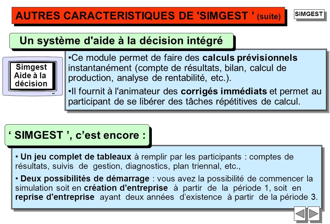 AUTRES CARACTERISTIQUES DE SIMGEST ' (suite)