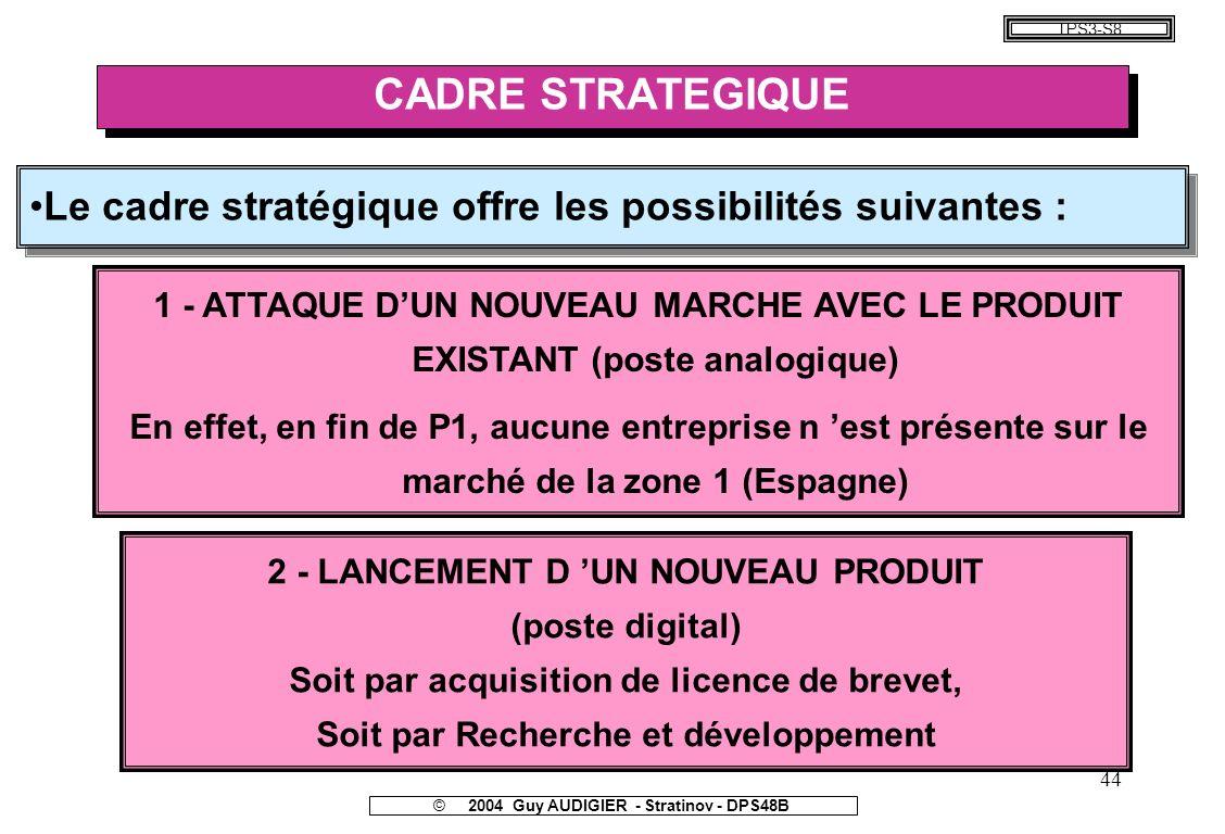 TPS3-S8 CADRE STRATEGIQUE. Le cadre stratégique offre les possibilités suivantes :